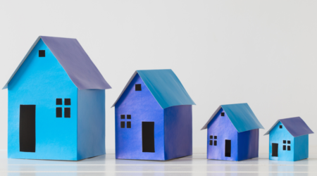 Renting Investing Rentvesting Blue Houses Example White Backdrop