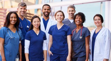 Nurse Nurses Group Doctor Doctors Posed Photography Medical Staff Models Posed Blue White